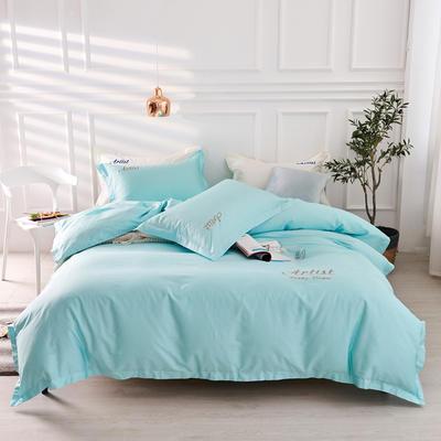 2019新款纯色60长绒棉刺绣四件套 1.5m(5英尺)床 天后色(天空蓝)