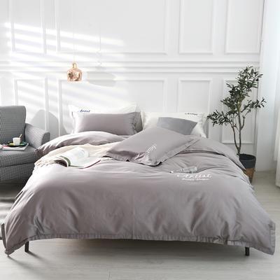 2019新款纯色60长绒棉刺绣四件套 1.5m(5英尺)床 天神色(气质灰)