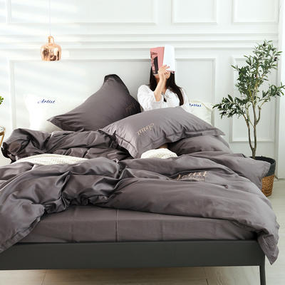 2019新款纯色60长绒棉刺绣四件套 1.5m(5英尺)床 万神殿(爵士灰)