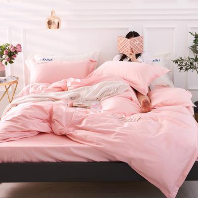 2019新款纯色60长绒棉刺绣四件套 1.5m(5英尺)床 小爱神(可爱粉)