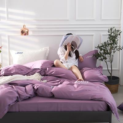 2019新款纯色60长绒棉刺绣四件套 1.8m(6英尺)床 雅典娜(女神紫)