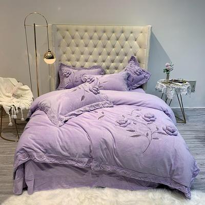 2019新款定制款牛奶绒刺绣四件套-梦娜 1.8m床单款 梦娜  紫