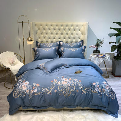 2019新款60长绒棉刺绣四件套-木槿 1.8m(6英尺)床 木槿