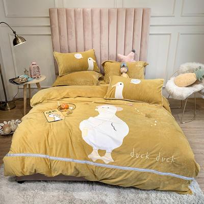 2019新款温暖宝宝绒四件套-OK鸭 1.5m床单款 OK鸭黄
