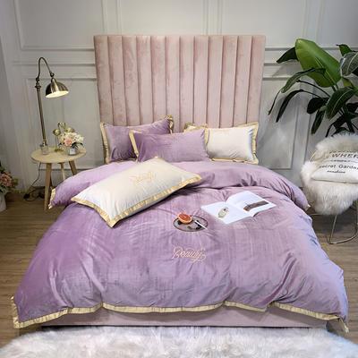2019新款轻奢真丝绒四件套 1.8m床单款 真丝绒 紫
