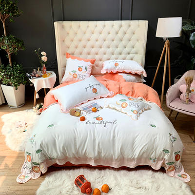 2020新款60天丝刺绣四件套 1.5m床单款 夏日橘柚