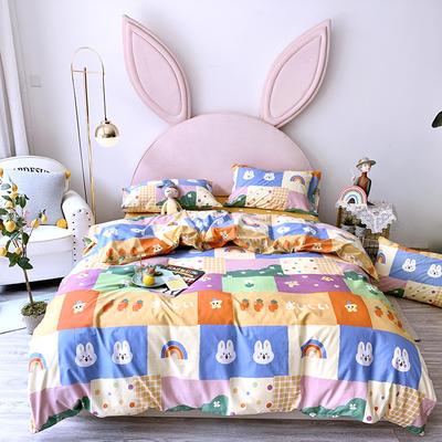 2020新款40支13372全棉活性印花四件套 1.2m床单款三件套 彩虹兔
