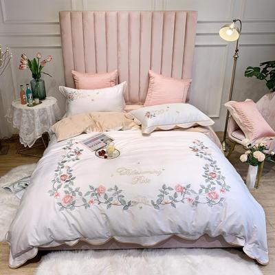 2020新款60支贡缎长绒棉刺绣四件套 1.5m床单款四件套 玫瑰之心