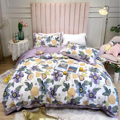 2020新款60支贡缎长绒棉印花四件套 1.5m床单款四件套 果漾 紫