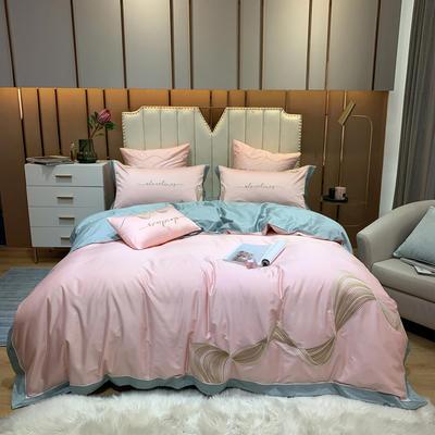 2020新款澳棉100支极光系列四件套 1.5m床单款四件套 极光-仙女粉