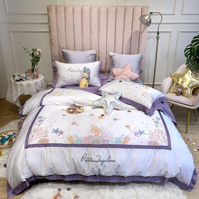 2020新款60支贡缎长绒棉四件套 1.5m床单款四件套 加勒比海-紫
