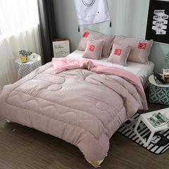 水洗棉系列-水洗棉保暖羽丝绒被(几何抽象) 150x200cm/4斤 安然轨迹-咖