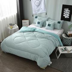 水洗棉系列-水洗棉保暖羽丝绒被(几何抽象) 150x200cm/4斤 格调情缘-青