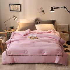 2018新款水洗棉织带冬被 110x150cm3斤 粉色