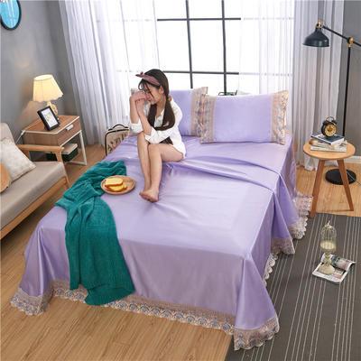 2019新款冰丝纯色蕾丝床单 250cmx250cm 贵妃紫