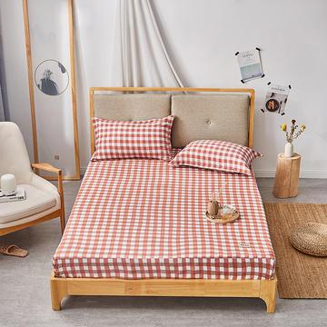 2019无印良品单床笠床罩-橙小格
