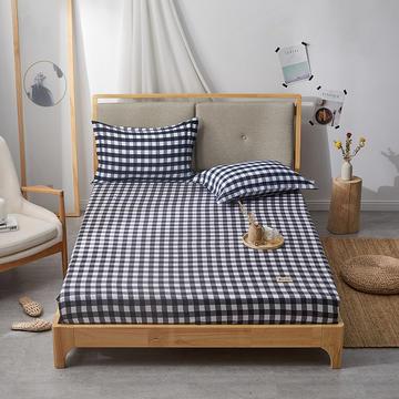 2019无印良品单床笠床罩-黑白格