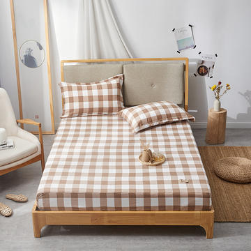 2019无印良品单床笠床罩-咖啡色格