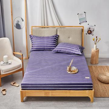 2019无印良品单床笠床罩-蓝条纹