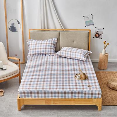 2019无印良品单床笠床罩-蓝小格 150cmx200cm 蓝小格