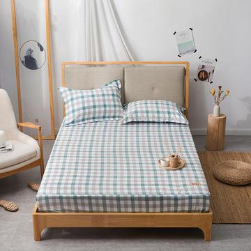 2019无印良品单床笠床罩-绿色小格