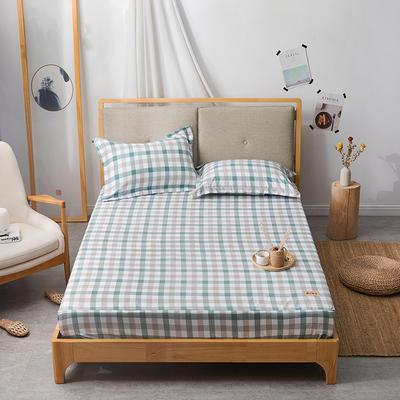 2019无印良品单床笠床罩-绿色小格 150cmx200cm 绿色小格