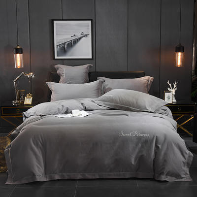 2018新款全棉镂空磨毛四件套 1.8m(6英尺)床 繆灰(星光银)
