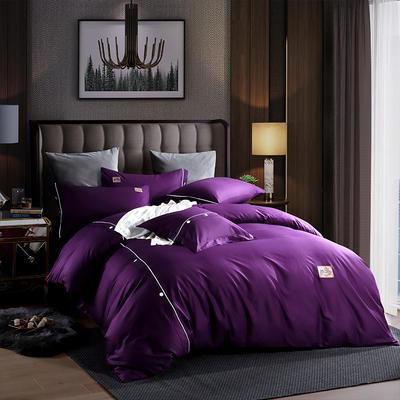 2019新款全棉纽扣绣花工艺款四件套 1.8m(6英尺)床 布拉格-神秘紫