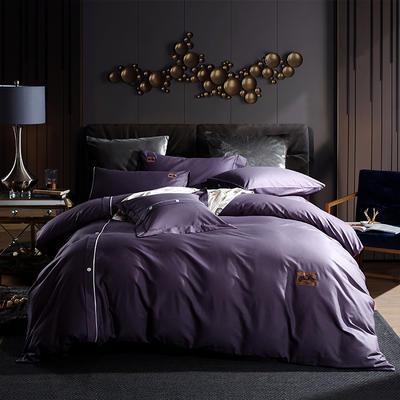 2019新款全棉纽扣绣花工艺款四件套 1.8m(6英尺)床 布拉格-烟熏紫