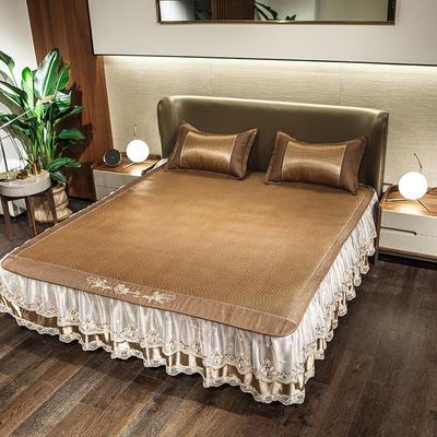 2019新品春夏冰藤床裙款涼席系列 1.5m(5英尺)床 浪漫一生-棕