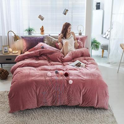 2019新款丽芙绒蜜语绣花系列四件套 1.8m床单款 密语-豆沙红