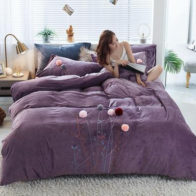 2019新款丽芙绒蜜语绣花系列四件套 1.8m床单款 密语-魅力紫