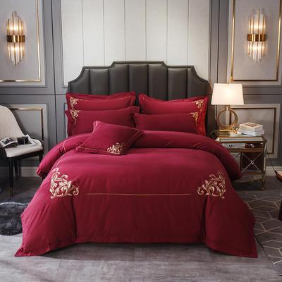 2019新款全棉磨毛绣花系列四件套-拍摄1 2.0m床单款 菲拉格-骑士红