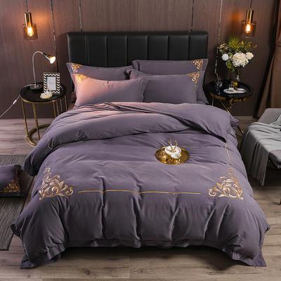 2019新款全棉磨毛绣花系列四件套-拍摄2 1.8m床单款 菲拉格-烟熏紫