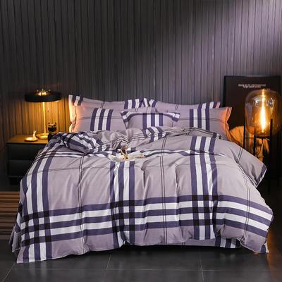 2019新款全棉印花磨毛四件套 1.5m床单款 简约时代-紫