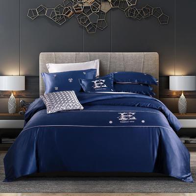 2020新款60长绒棉刺绣酒店风四件套 1.8m床单款 凯罗琳—皇家蓝