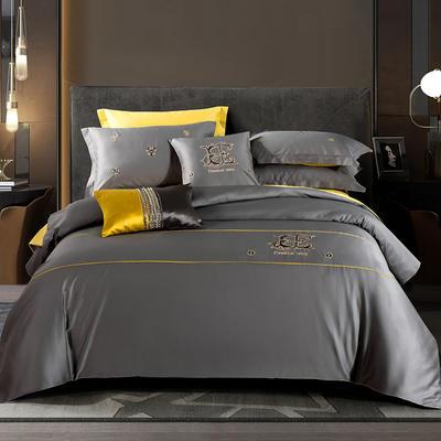 2020新款60长绒棉刺绣酒店风四件套 1.8m床单款 凯罗琳—卡宾灰