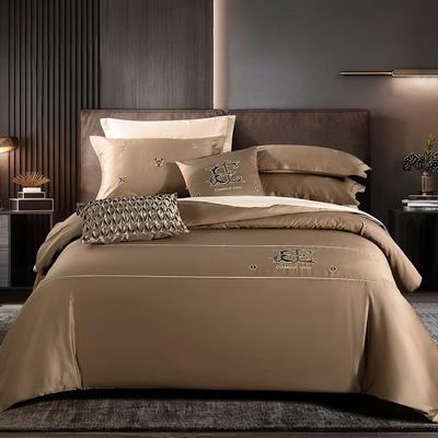 2020新款60长绒棉刺绣酒店风四件套 1.8m床单款 凯罗琳—土豪金