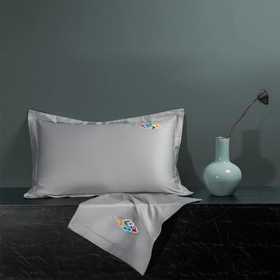 2020新款60长绒棉单品枕套 48cmX74cm/对 炫彩-白银灰