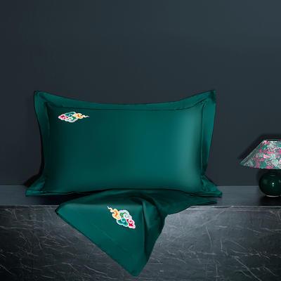 2020新款60长绒棉单品枕套 48cmX74cm/对 炫彩-海藻绿