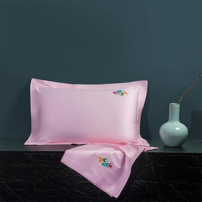 2020新款60长绒棉单品枕套 48cmX74cm/对 炫彩-新粉玉