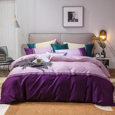 2020新款全棉拼接绣花四件套 1.5m床单款四件套 豆沙+神秘紫