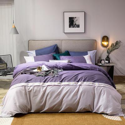 2020新款全棉拼接绣花四件套 1.5m床单款四件套 烟熏紫+粉紫