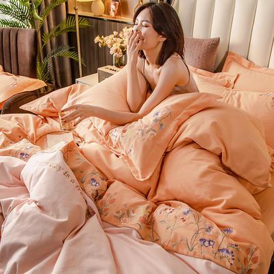 2020新款全棉磨毛花卉款四件套 1.8m床单款四件套 幽梦-暖橙