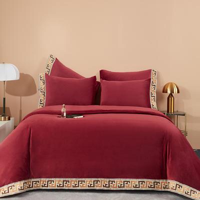 2020新款保暖丽丝绒绣花拼接工艺四件套 1.5m床单款四件套 摩卡-秘红