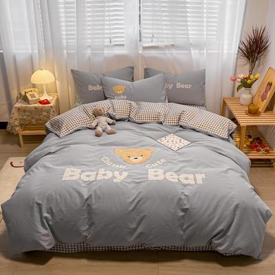 2021新款全棉水洗棉绣花宝贝熊四件套 1.5m床单款四件套 宝贝熊-淡蓝