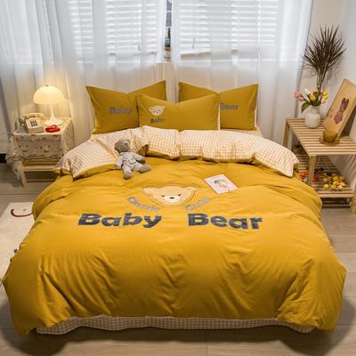 2021新款全棉水洗棉绣花宝贝熊四件套 1.5m床单款四件套 宝贝熊-姜黄