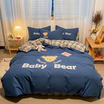 2021新款全棉水洗棉绣花宝贝熊四件套 1.5m床单款四件套 宝贝熊-蓝灰