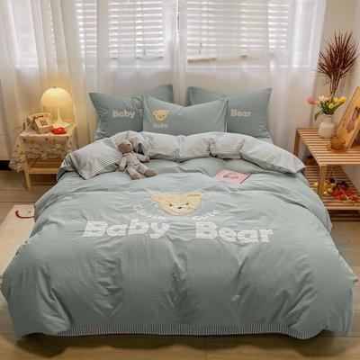 2021新款全棉水洗棉绣花宝贝熊四件套 1.5m床单款四件套 宝贝熊-浅绿