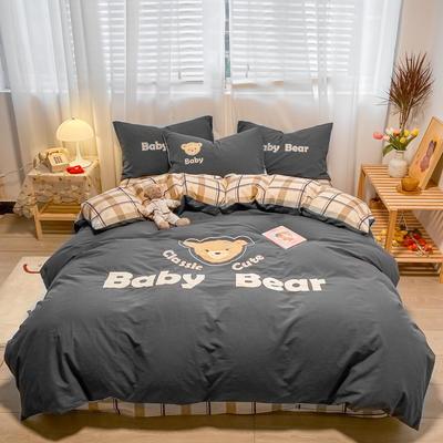 2021新款全棉水洗棉绣花宝贝熊四件套 1.5m床单款四件套 宝贝熊-银灰